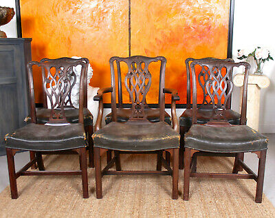6 Antique Chippendale Mahogany Dining Chairs 19th Century Victorian