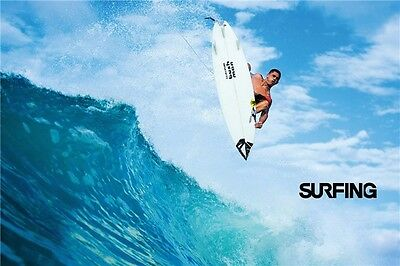 """Riding Giants LAMINATED POSTER /""""Great Wave Surfing Tube Ocean/"""" 21/""""x13/""""  038"""