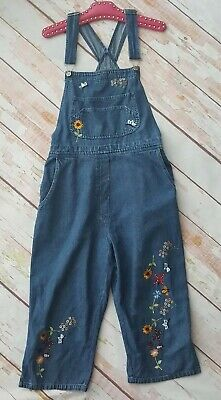 Vintage blue denim embroidered sunflower bumblebee overalla dungarees L