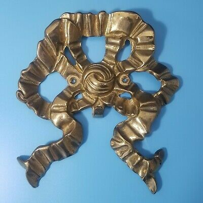 Solid Brass Ribbon Bow Picture or Door Hanger Wreath Hook 3D 1989 Bombay Co.