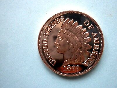 1877 INDIAN HEAD CENT #3 1oz COPPER ROUND ONE CENT BACK