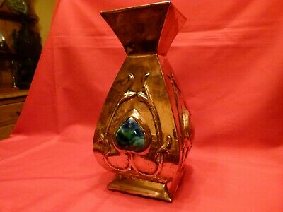 Superb Large,Possibly Glasgow Arts & Crafts,Art Nouveau Copper & Enamel Vase