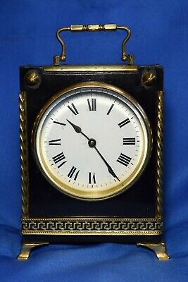 Antique French 8 Day Black Lacquer And Guilt Brass Mantle Clock