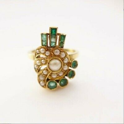 Art Deco Emerald Pearl Ring Stunning and Unusual 18ct Heavy 5g Well Made C.1930'