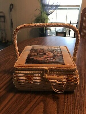 Vintage Sewing Basket With Celluloid Trim