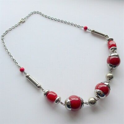 JAKOB BENGEL Art Deco Machine Age Chrome Red Galalith Necklace ART DECO SCHMUCK