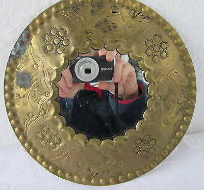 """8"""" Antique  oval wall  MIRROR ...BRASS/ COPPER HAND HAMMERED ORNATE FRAME art"""