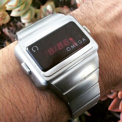 OMEGA 1601 TC2 Time Computer, LED vintage watch 1974, Stainless steel.