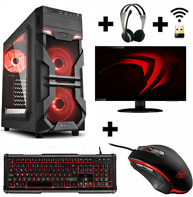 "Gamer PC Komplett-Set AMD 9700 4x 3,8 Ghz Radeon R7 8GB DDR4 1TB 24"" 61cm Win10"