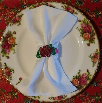 Old Country Roses- Royal Albert (Napkin Rings w/ Napkins Set of 4) Handcrafted