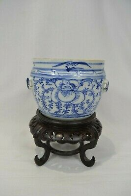 Antique Chinese Blue & White Porcelain Jar Pot with Stand
