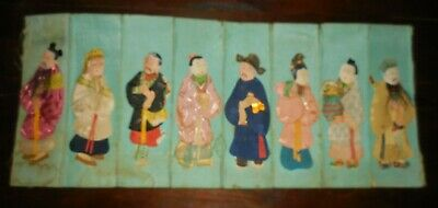ANTIQUE VINTAGE CHINESE PADDED SILK IMMORTALS FIGURES from waste basket