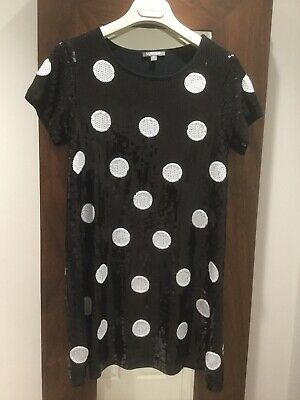 Girls Top Tunic Dress.age13.Marks&Spencer Sequins Black&Wht.vgc.rrp£32.Christmas
