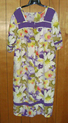Women's Phases Cotton Floral Slip-On House Dress, Size Large