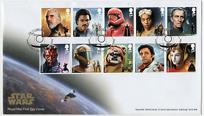 2019 STAR WARS STAMPS GB FIRST DAY COVER Pinewood Postmark FDC *NICE* 26.11.19