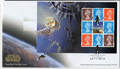 2019 STAR WARS MACHIN PANE FIRST DAY COVER LONDON Postmark *NICE* FDC  26.11.19