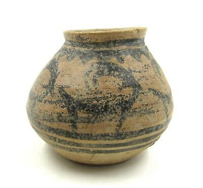 Ancient Terracotta Pottery Jar Vessel Indus Valley Painted Deer Motif ca 2500 BC