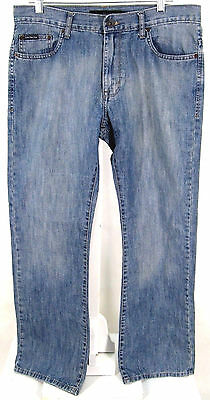 Calvin Klein Jeans Sz 33 ( x 31 ) Mens Bootcut Blue Soft Denim Faded Distressed