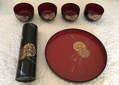 Kansai Yamamoto Japanese Lacquer Ware / Bowl Set Of 4 W/Pitcher & Tray-Pristine!