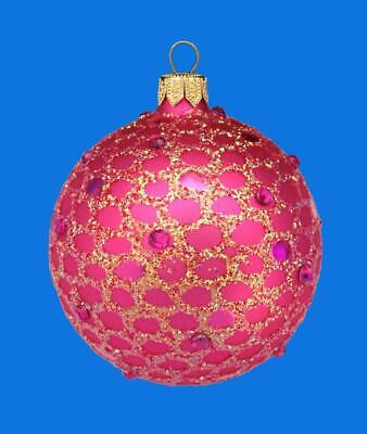 6cm FUSCIA PINK BALL EUROPEAN BLOWN GLASS CHRISTMAS ORNAMENT MAGENTA AMELIE 150
