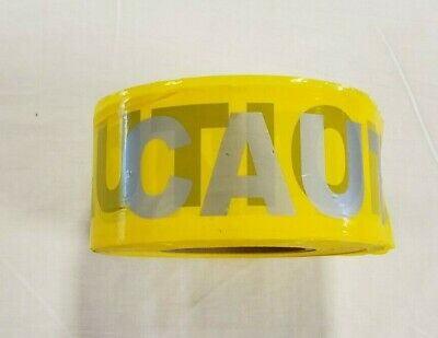 "NEW CAUTION 3"" Yellow Barricade Tape Reflective Print Black & Silver"