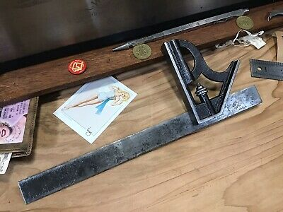 Early Antique Starrett Combination Square Head & Blade Tool - Machinist Woodwork