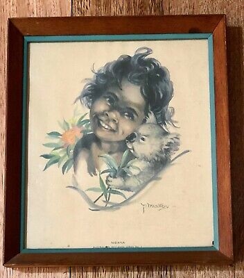 Vintage Peg Maltby Aboriginal Child Koala Framed Print Artwork Australia Nibiana