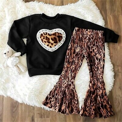 Toddler Kids Baby Girl Clothes T shirt Top Long Pants Trousers Leopard Outfit