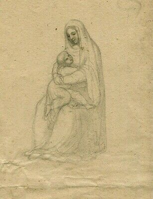 19th Old Pencil Drawing - Dessin Ancien - Woman, Baby, Mary, Religion,Vierge