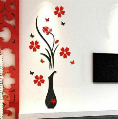 Vase Flower Tree Butterfly 3D DIY Wall Stickers Decal Wallpapers Living Rooms