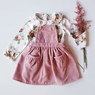 AU Toddler Kids Baby Girl Flower Shirt Top Bib Skirts Dress Casual Party Outfit
