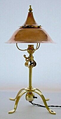 Antique Birmingham Guild Of Handicraft Was Benson Brass Copper Table Lamp/Light