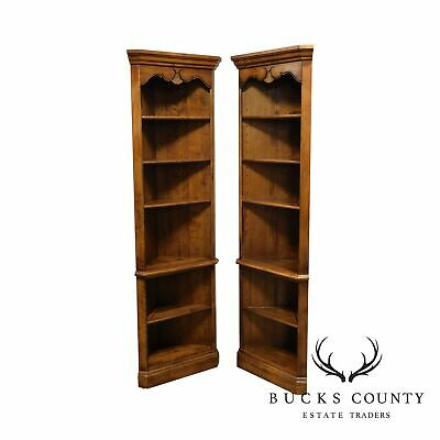Ethan Allen Country French Pair Corner Bookcases