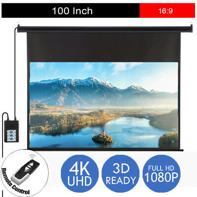"100"" Inch Electric Motorised Projector Screen Home Theatre HD TV Projection 3D"