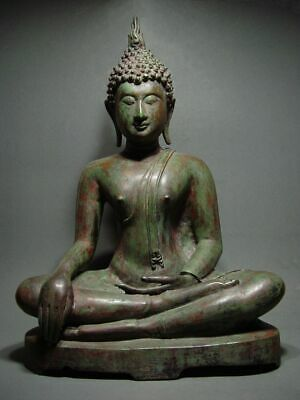 ANTIQUE BRONZE MEDITATING SUKHOTHAI BUDDHA, TEMPLE RELIC OF THE PERIOD 14/15th C