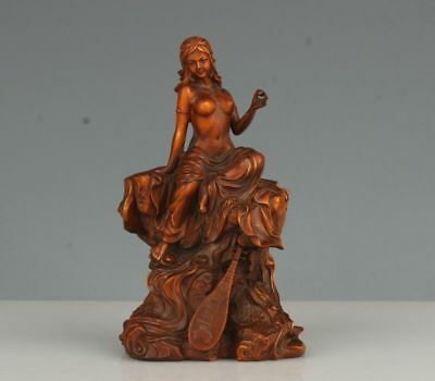 China Exquisite Hand-carved beauty carving Boxwood statue