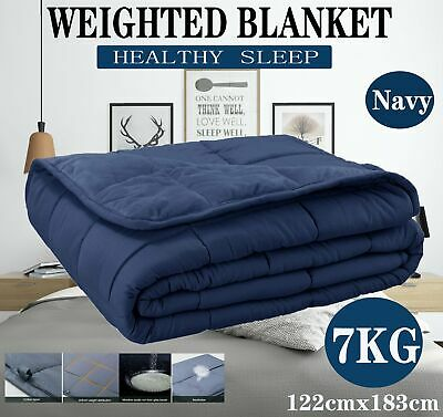 7KG Weighted Blanket Cotton Deep Relax Sleeping Adult Navy Blue All Season