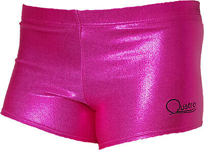 Girls shimmer pink QUATRO gymnastic,sports shorts, size AXS, VGC