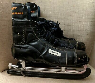 Vintage Bauer Nhl Approved  Ice Hockey Skates With Skate Guards Great Condition