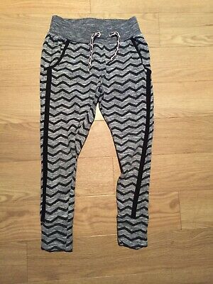 Girls Age 6 Years Skinny Joggers Grey Black Pockets Trackies Trousers