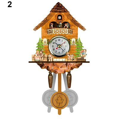 Antique Wooden Cuckoo Wall Clock Bird Time Bell Swing Alarm Art Decor PAK55