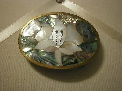 Vtge Brass or Alpaca Inlaid Mother of Pearl Abalone Flower Belt Buckle Mexico