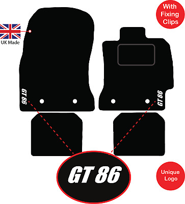 TOYOTA GT86 2848 TAILORED RUBBER CAR MATS WITH RED TRIM 2012 ONWARDS