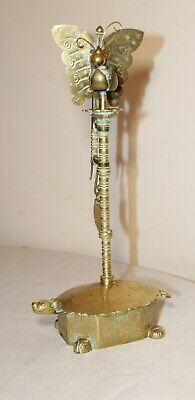 antique ornate solid brass figural Chinese candle turtle butterfly holder stand