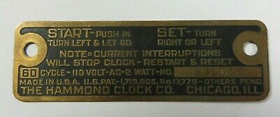 Vtg Antique THE HAMMOND CLOCK CO. Metal Brass Face Plate Tag Chicago, Illinois