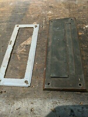 Antique Rare * Solid Brass * Letter Box Plate * Door Mail Box * Mail Slot