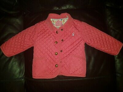 Joules designer pink quilted jacket 9-12m