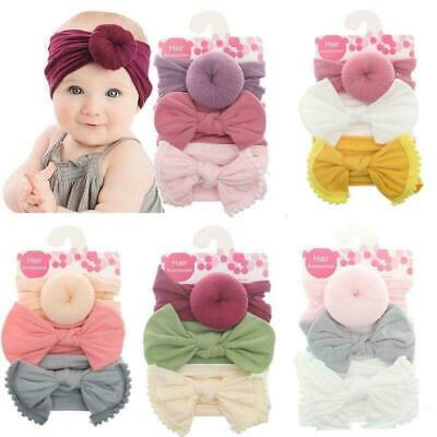 Baby Donut Bow Headband 3 Pcs/set Newborn Soft Wide-brimmed Knotted Hair Band
