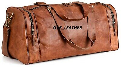 "24"" Men Leather Large Tour & Travel Vintage Duffel Travel Weekend Overnight Bag"
