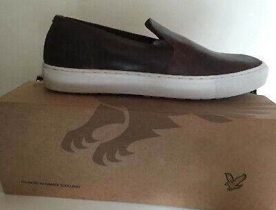 Lyle & Scott Men's Alford Leather Trainers Brown (Cognac), 10 UK £75.00 NWT